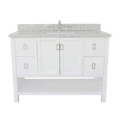 Monterey 49 in. W x 22 in. D Bath Vanity in White with Granite Vanity Top in Gray with White Rectangle Basin