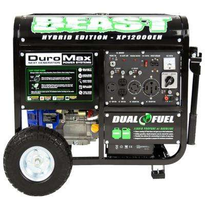 12,000-Watt 18 HP Portable Electric Start Hybrid Gasoline/Propane Generator Wheel Kit CARB Approved