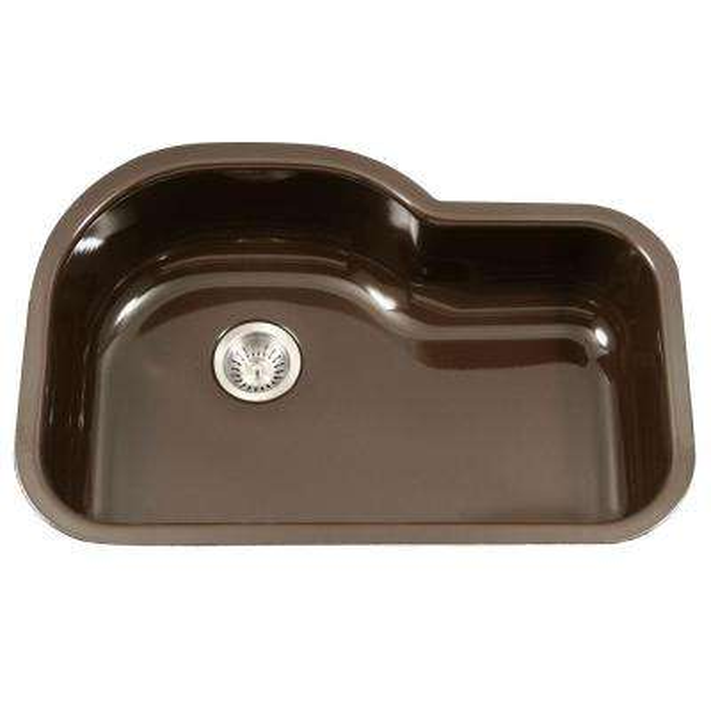 porcela series undermount porcelain enamel steel 31 in offset single bowl kitchen sink in espresso