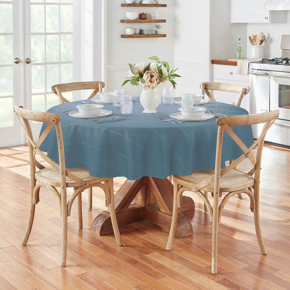 70 in. Round Blue Shadow Elrene Elegance Plaid Damask Fabric Tablecloth