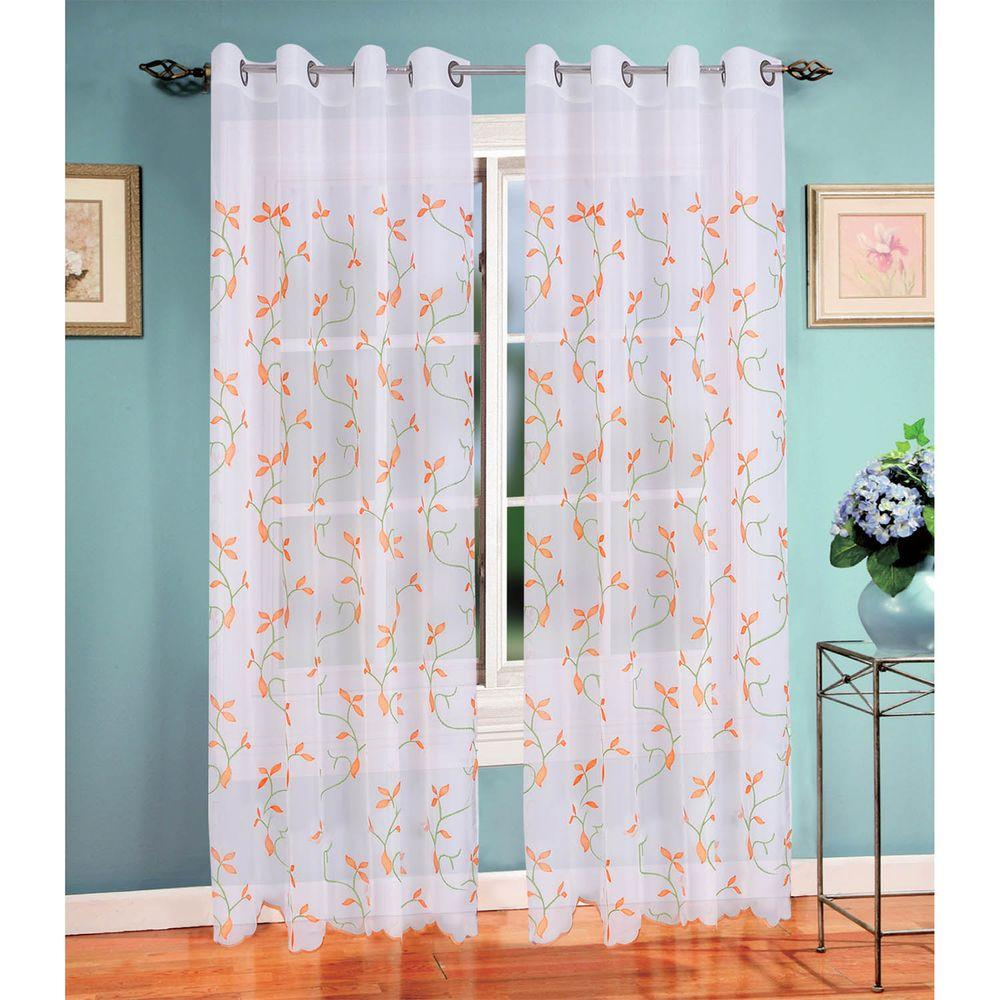 Window Elements Sheer Birch Leaf Embroidered 54 In W X 84 L