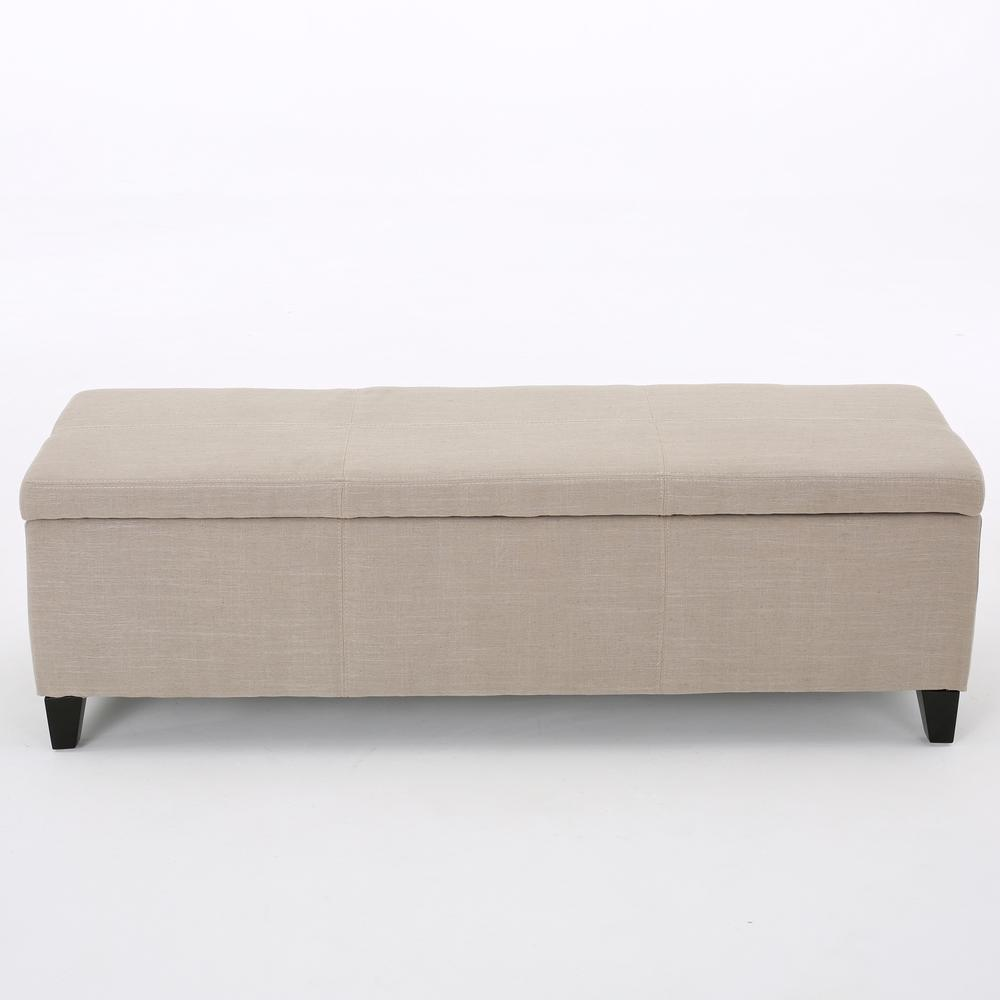 Noble House Glouser Sand Fabric Storage Bench