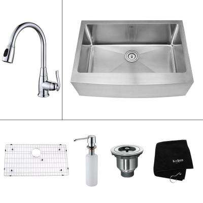 All-in-One Farmhouse Apron Front Stainless Steel 30 in. Single Bowl Kitchen Sink with Faucet and Accessories in Chrome