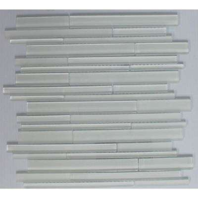 12 in. x 12. in x 8 mm Tile Esque White Linear Blend Mesh-Mounted Mosaic Tile