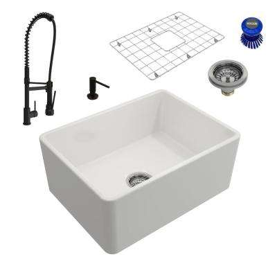 Classico All-in-One Farmhouse Fireclay 24 in. Single Bowl Kitchen Sink with Maggiore Rubbed Bronze Faucet and Soap Disp