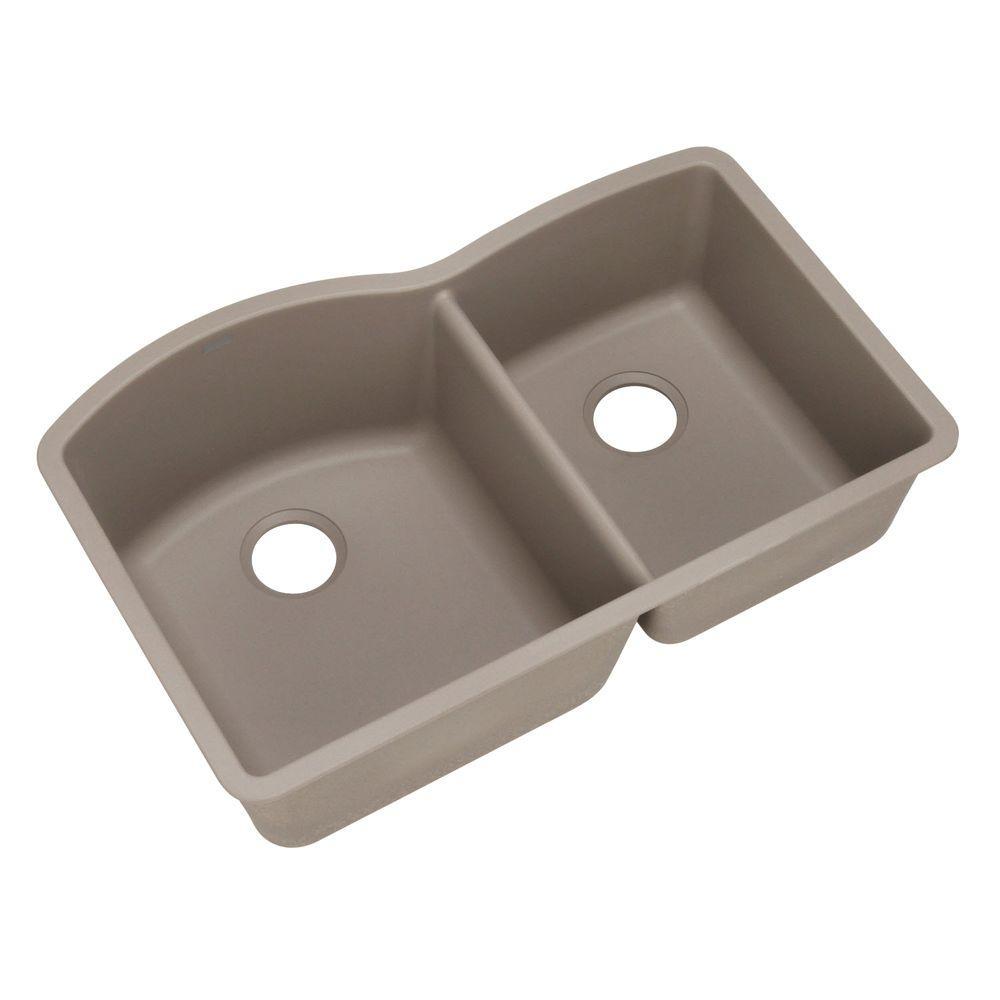 Diamond Undermount Granite 32 in. 0-Hole Double Bowl Kitchen Sink in Truffle