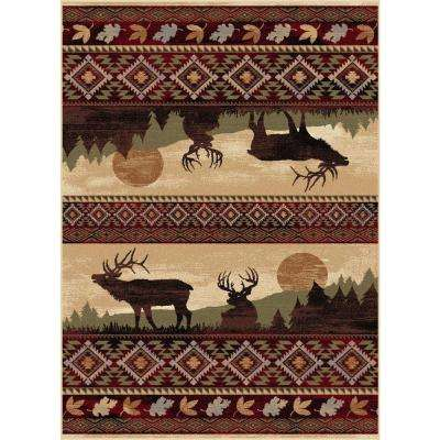 Nature Red 7 ft. 10 in. x 10 ft. 3 in. Lodge Area Rug