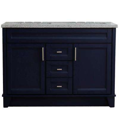 49 in. W x 22 in. D Double Bath Vanity in Blue with Granite Vanity Top in Gray with White Rectangle Basins
