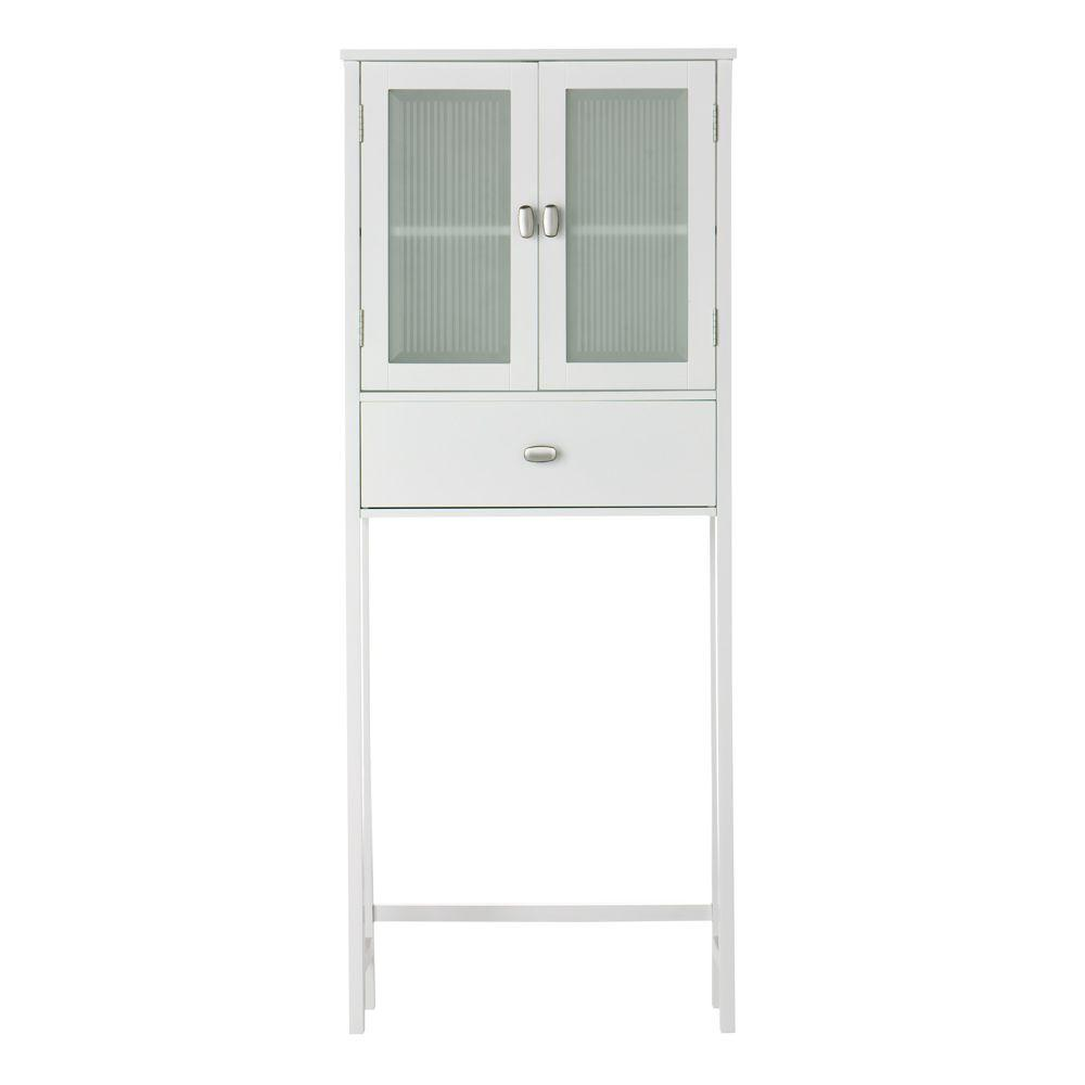 Home Decorators Collection Moderna 26 in. W Spacesaver in White with Glass Door