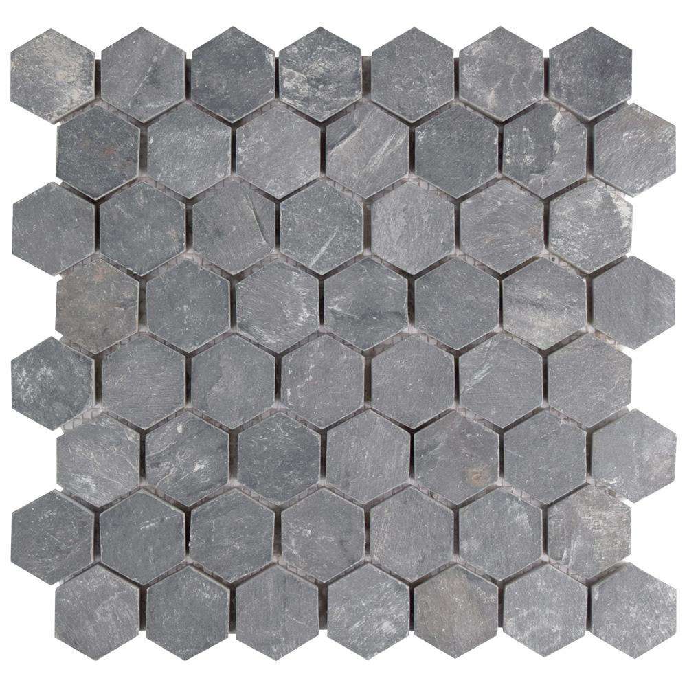 Merola Tile Crag Hexagon Black 11-1/8 in. x 11-1/8 in. x 10 mm Slate Mosaic Tile