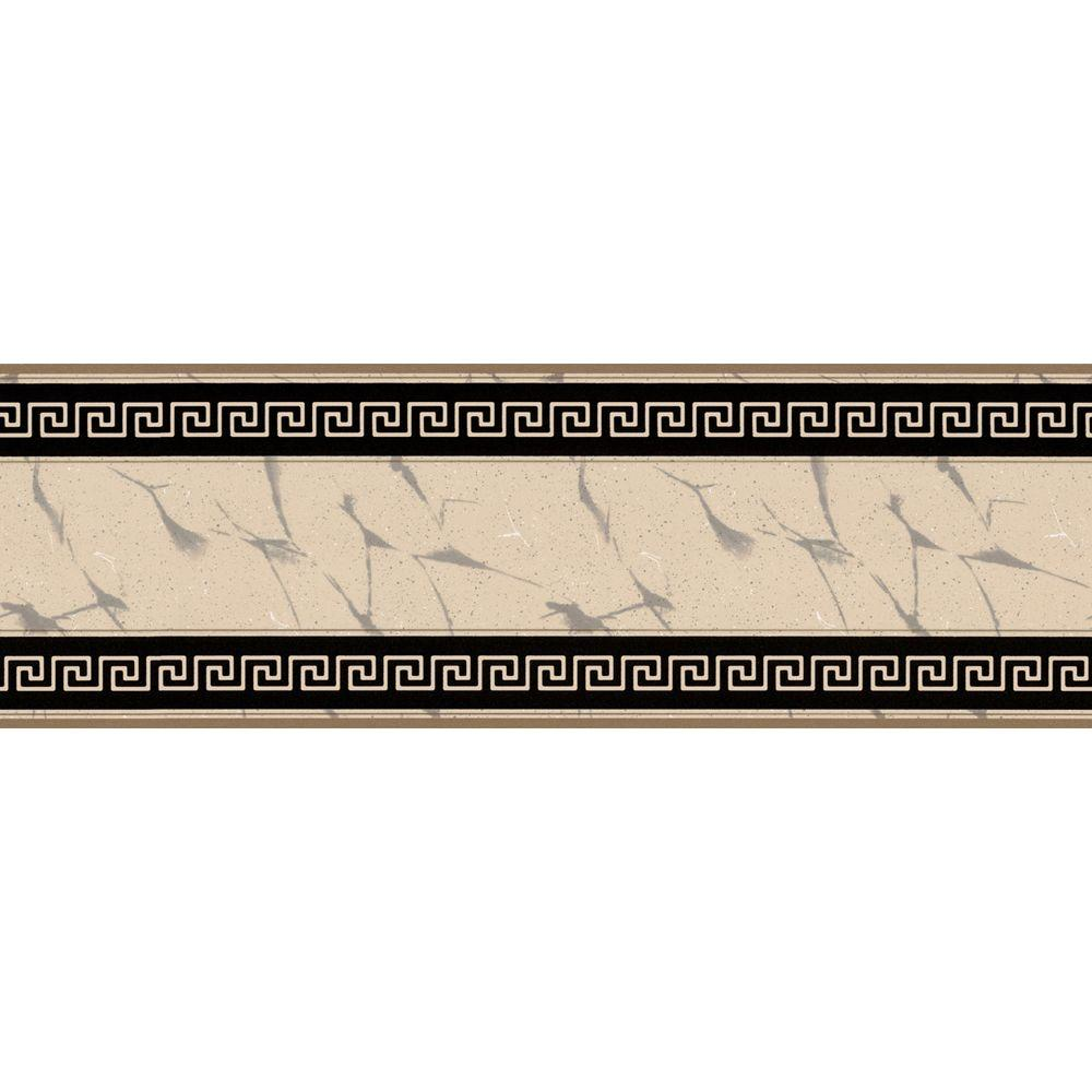 The Wallpaper Company 8 in. x 10 in. Black and Beige Greek Key Marble Border Sample