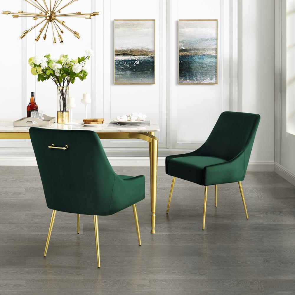 Capelli Emerald/Gold Velvet Metal Leg Armless Dining Chair (Set of 2)