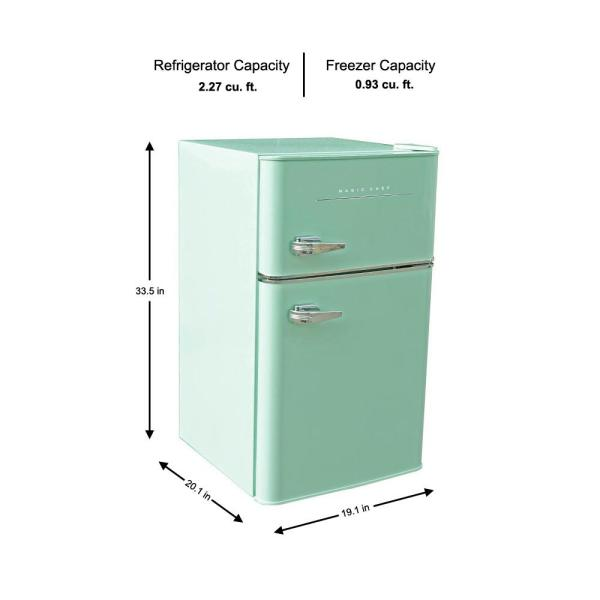 Magic Chef Retro 3 2 Cu Ft 2 Door Mini Fridge In Mint Green Hmcr320me The Home Depot