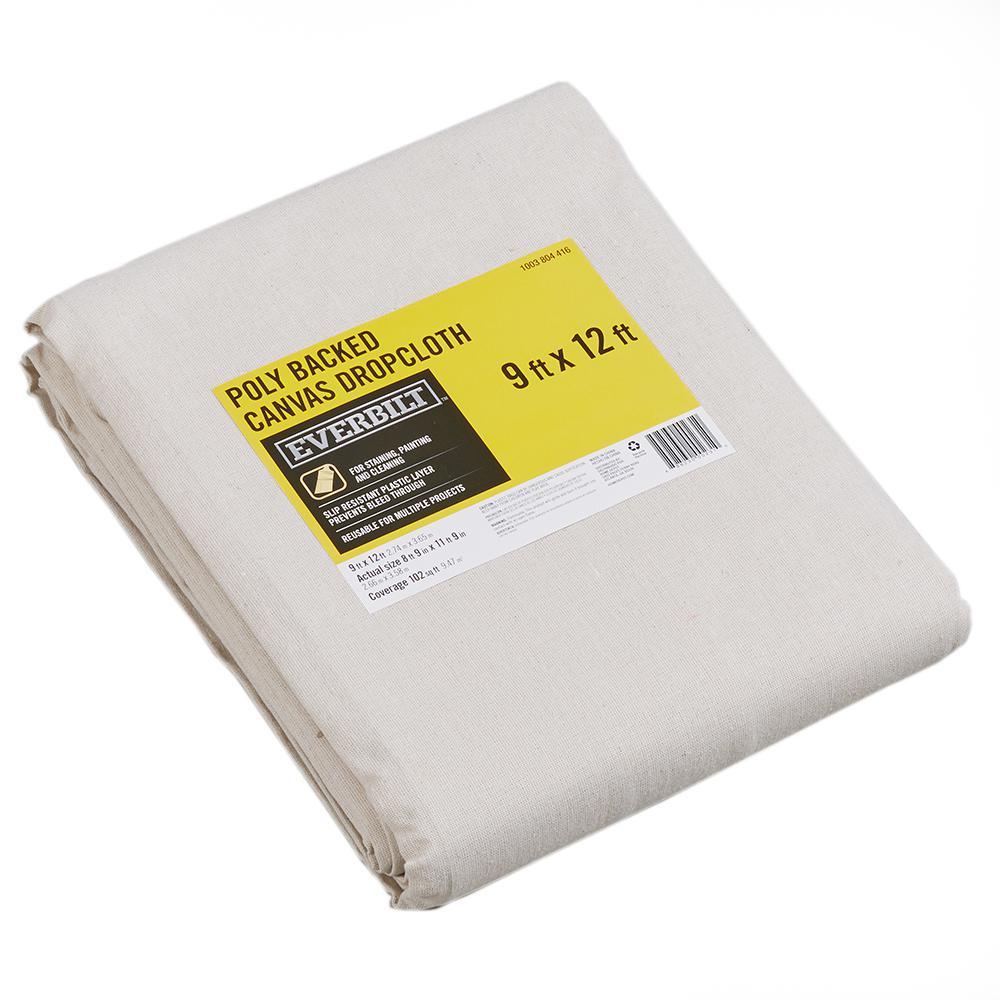 Everbilt 9 Ft x 12 Ft Poly Backed Canvas Drop Cloth