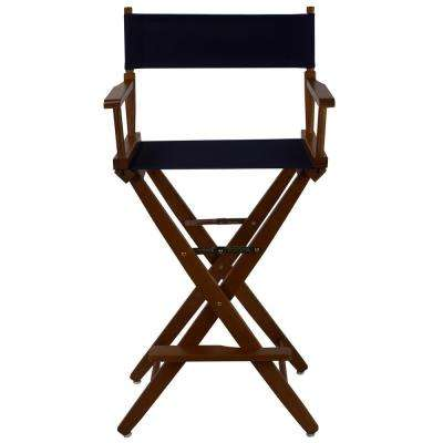 30 in. Extra-Wide Mission Oak Wood Frame/Navy Canvas Seat Folding Directors Chair