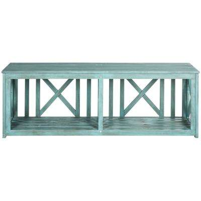 Branco 2-Person Beach House Blue Wood Outdoor Bench