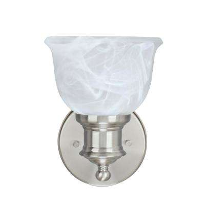 1-Light Brushed Nickel Vanity Light with Faux Alabaster Glass Shade