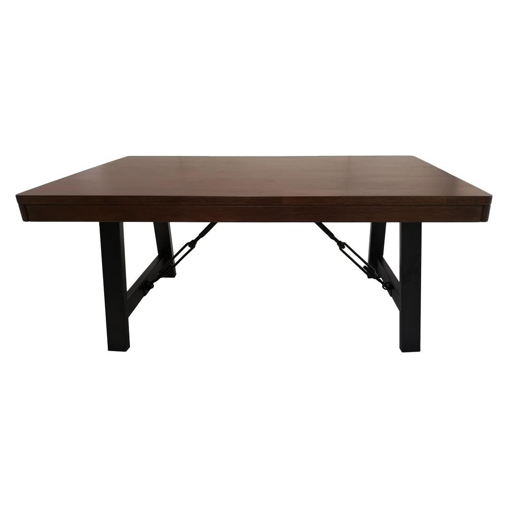 Linnett farmhouse natural walnut brown rubberwood coffee table with black iron legs