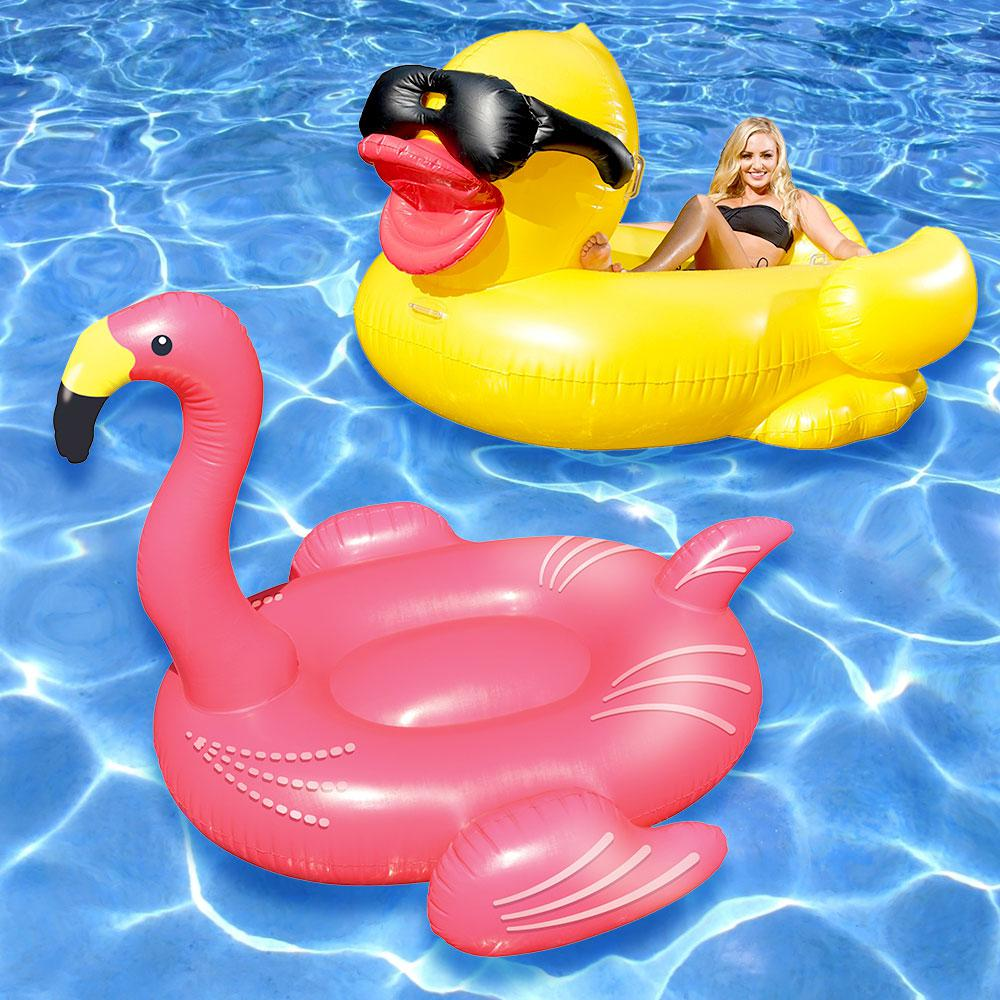 Swimline giant flamingo and riding derby duck swimming for Swimming pool loungers