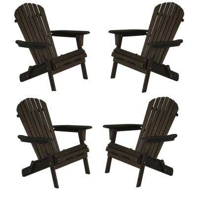 Classic Dark Brown Folding Wood Oceanic Adirondack Chair (4-Pack)