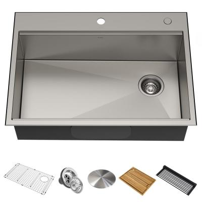 Kore Workstation Drop-In Stainless Steel 30 in. Single Bowl Kitchen Sink