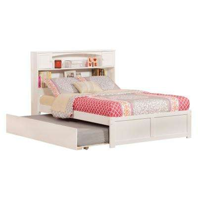 Newport White Full Platform Bed With Flat Panel Foot Board And Twin Size Urban Trundle