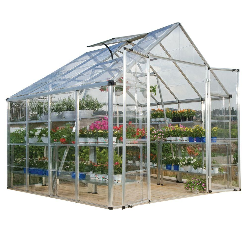 Palram Snap and Grow 8 ft. x 8 ft. Silver Polycarbonate Greenhouse
