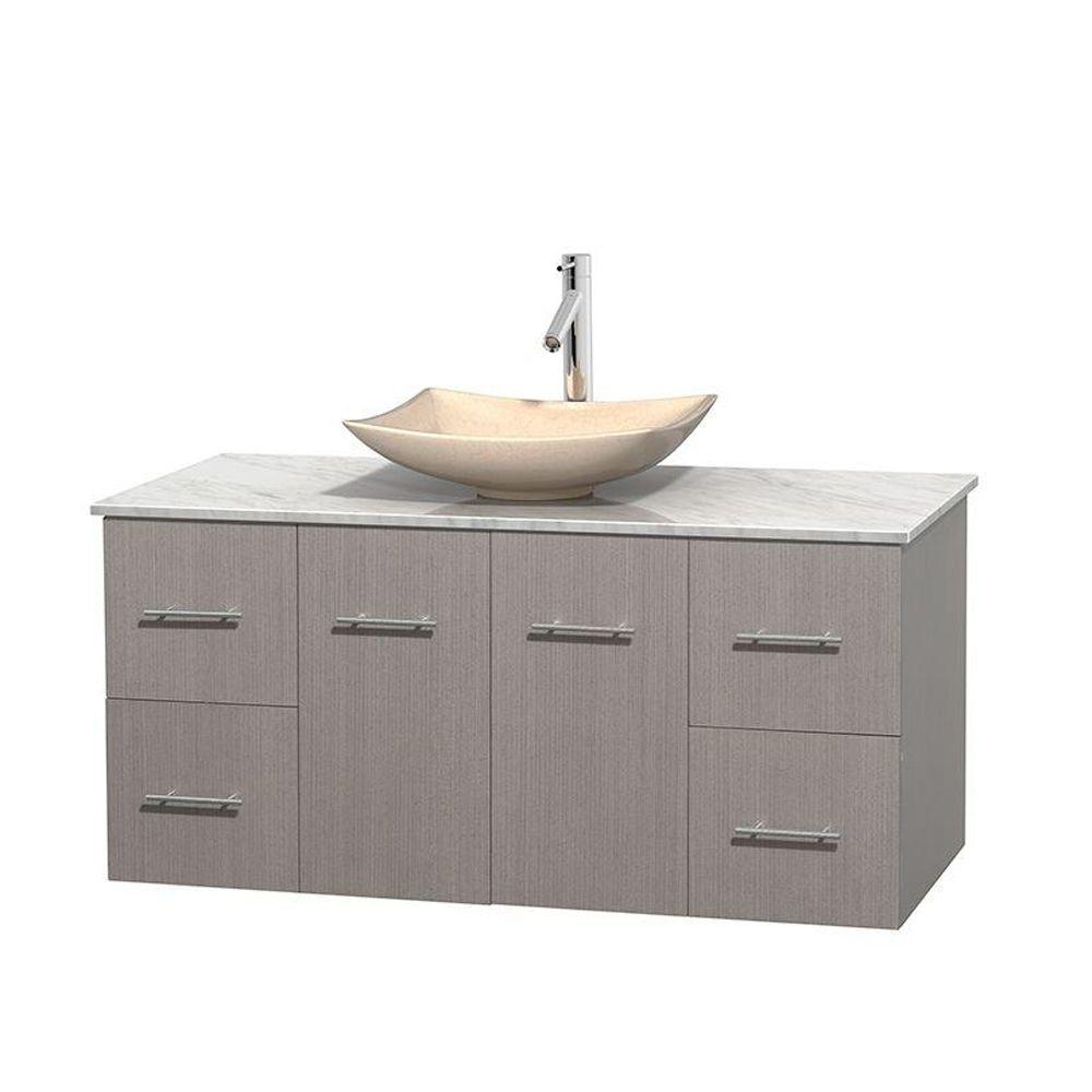 Centra 48 in. Vanity in Gray Oak with Marble Vanity Top
