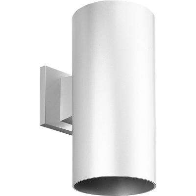 1-Light White Integrated LED Outdoor Wall Mount Cylinder Light