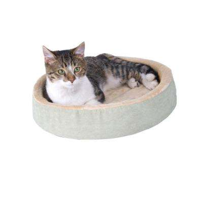 Thermo-Kitty Cuddle Up Small Sage Heated Cat Bed