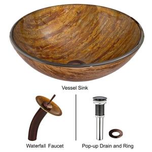 VIGO Glass Vessel Sink in Amber Sunset with Waterfall Faucet Set in Oil Rubbed Bronze by VIGO