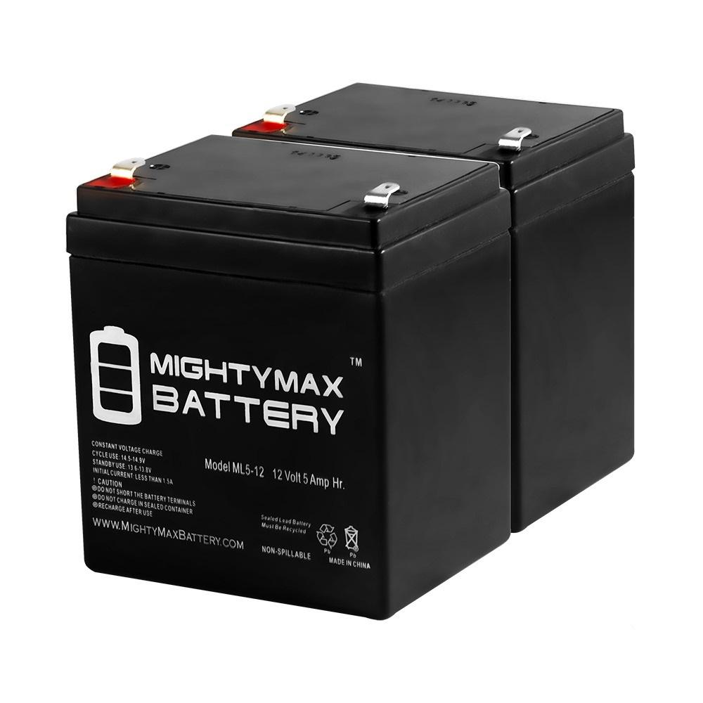 MIGHTY MAX BATTERY 12-Volt 5 Ah SLA (Sealed Lead Acid) AGM Type Replacement Battery for Alarm/Security Systems (2-Pack)