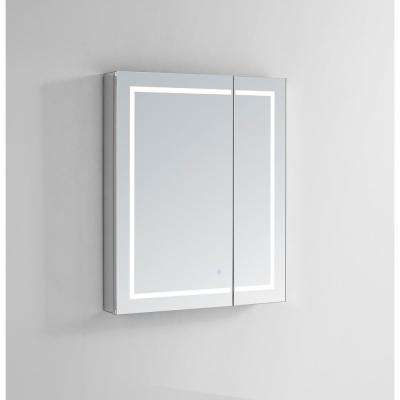 Royale Plus 30 in W x 36 in. H Recessed or Surface Mount Medicine Cabinet with Bi-View Door,LED Lighting,Mirror Defogger