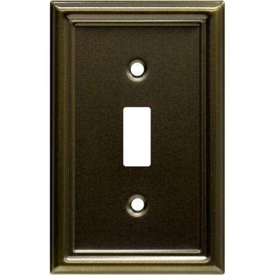 1 Toggle Steel Switch Wall Plate - Faux Antique Brass