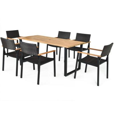 Rectangle Table Wood Outdoor Dining Table with Extension