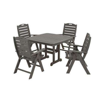 Nautical Slate Grey 5-Piece Plastic Outdoor Patio Dining Set