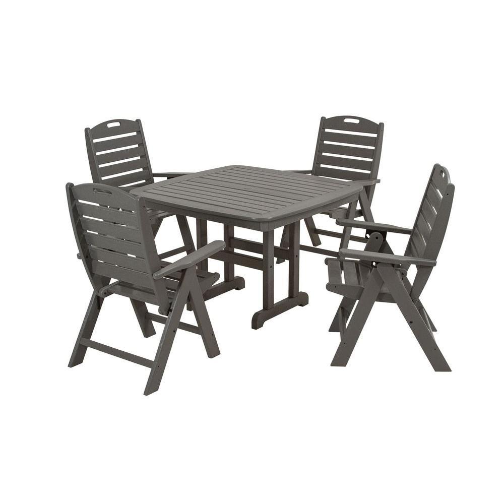 Nautical Slate Grey 5-Piece Plastic Outdoor Patio Dining Set