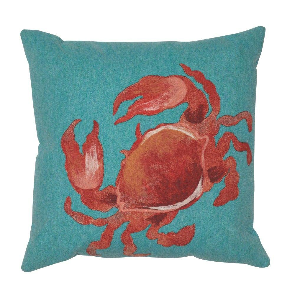 Home Decorators Collection Sea Creatures Crab Square Outdoor Throw Pillow