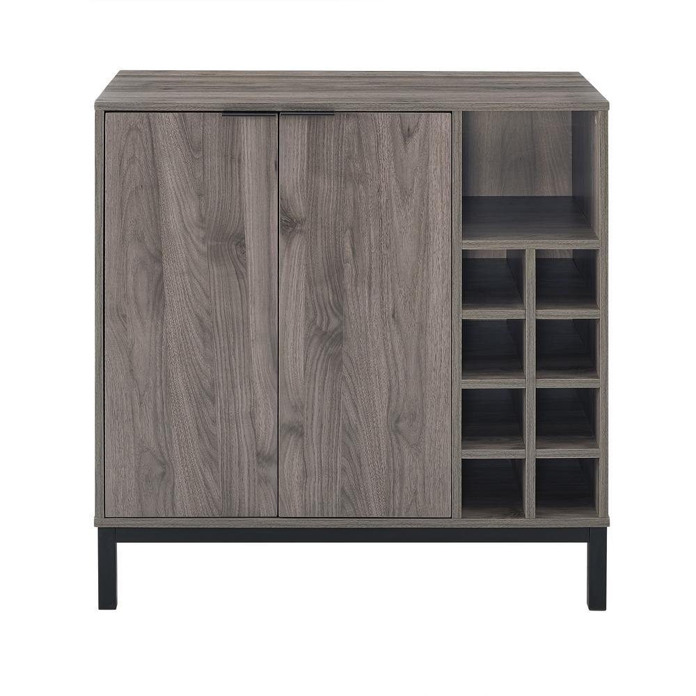 Slate Gray Modern Bar Cabinet with Wine Storage