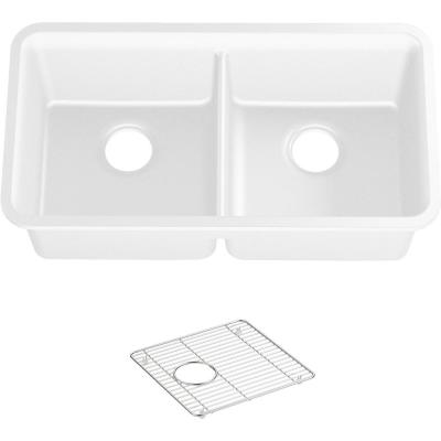 Cairn Undermount Neoroc Composite 33.5 in. Double Bowl Kitchen Sink in Matte White