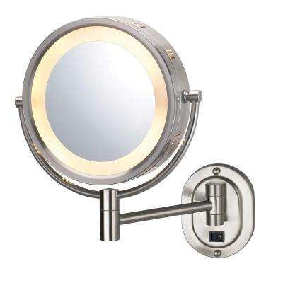 14 in. x 13 in. Lighted Wall Makeup Mirror in Nickel