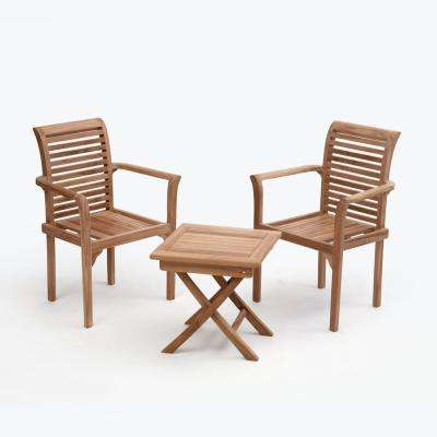 Texas Brown 3-Piece Wood Square Outdoor Bistro Set without Cushions