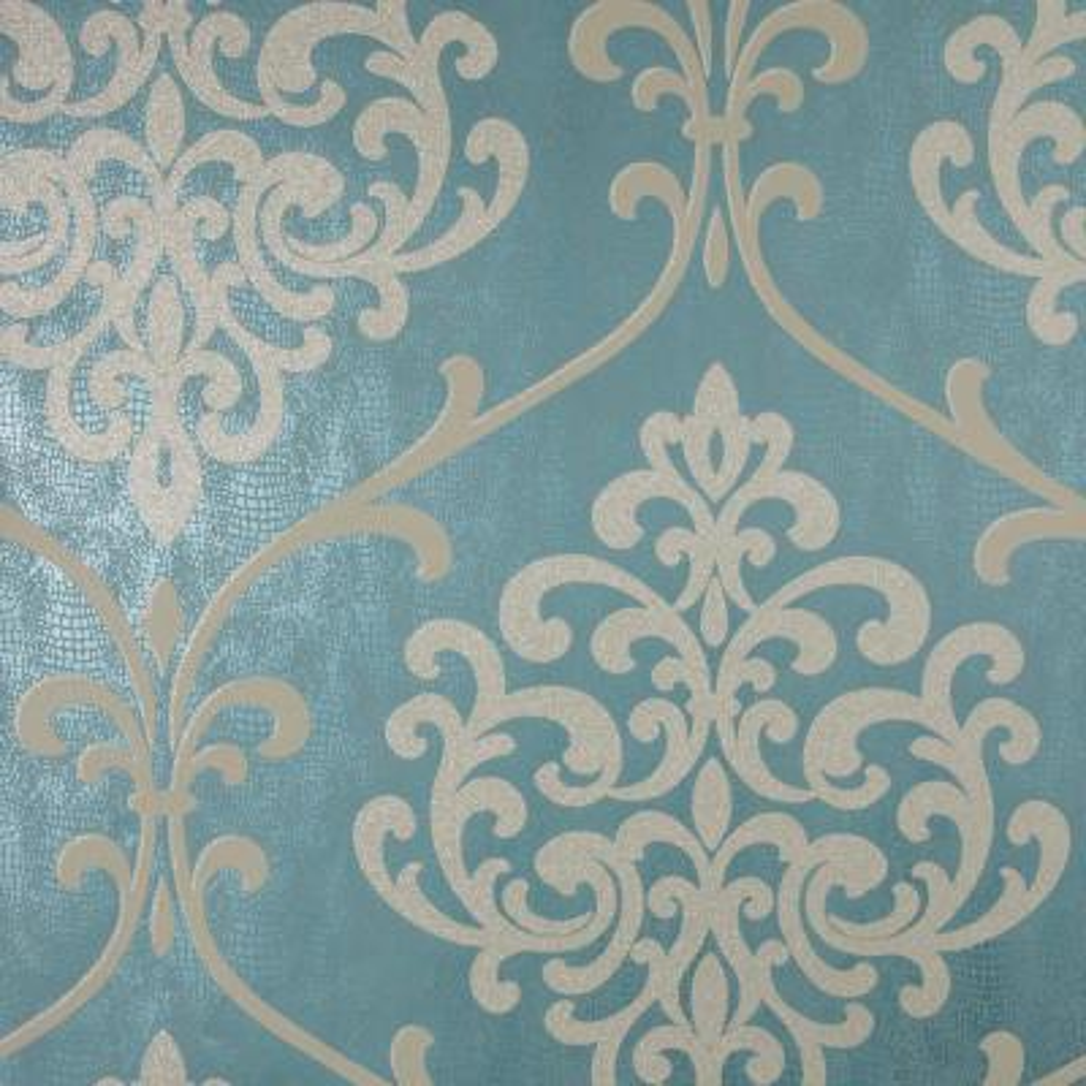 8 in. x 10 in. Ambrosia Teal Glitter Damask Wallpaper Sample