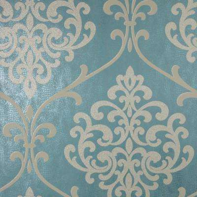 8 in. x 10 in. Ambrosia Teal Glitter Damask Wallpaper Sample