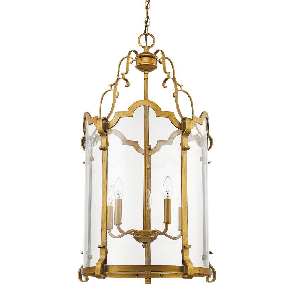 Elizabeth 5-Light Antique Gold Foyer Pendant