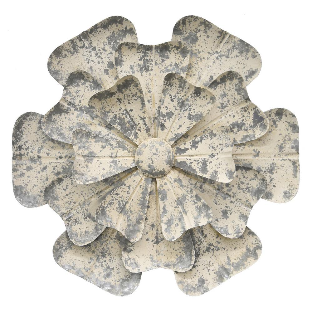 THREE HANDS White Metal Flower Wall Decor-61765