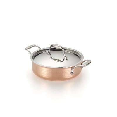 Martellata 3 Qt. Hammered Copper Tri-Ply Casserole with Lid