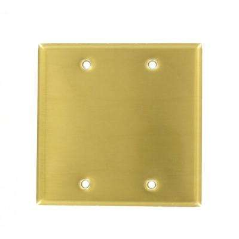 2-Gang No Device Blank Wallplate, Standard Size, Brass, Box Mount, Brass