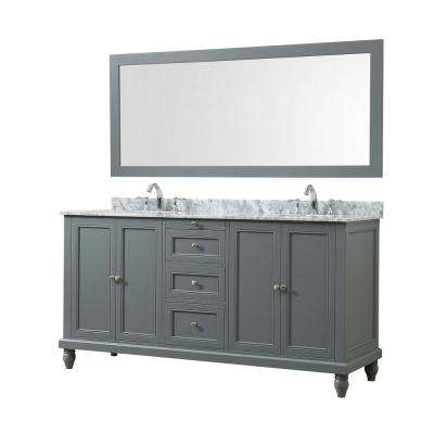 Classic 70 in. Bath Vanity in Gray with White Carrara Marble Vanity Top with White Basins and 1 Large Mirror