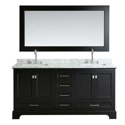 Omega 72 in. W x 22 in. D Vanity in Espresso with Marble Vanity Top in Carrara White with White Basin and Mirror